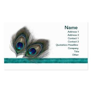 El pavo real azulverde empluma la tarjeta de tarjetas de visita