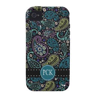 El pavo real bonito colorea el modelo de Paisley iPhone 4/4S Carcasas