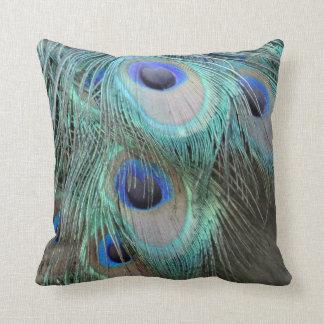 el pavo real brillante marcado empluma ojos almohadas