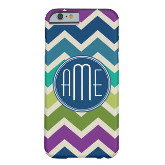 El pavo real colorea monogramas del personalizado funda para iPhone 6 barely there