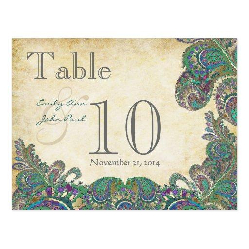 El pavo real colorea número de la tabla del boda tarjeta postal
