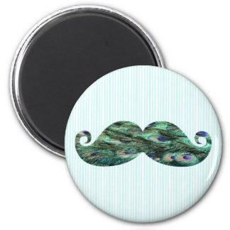 El pavo real colorido divertido empluma el bigote imán redondo 5 cm