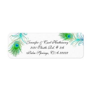 El pavo real colorido elegante empluma personaliza etiquetas de remite