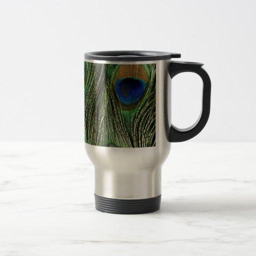 El pavo real colorido elegante empluma taza térmica