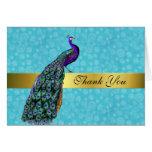 El pavo real colorido elegante le agradece cardar tarjetas
