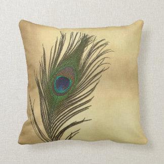El pavo real de la apariencia vintage empluma eleg almohada