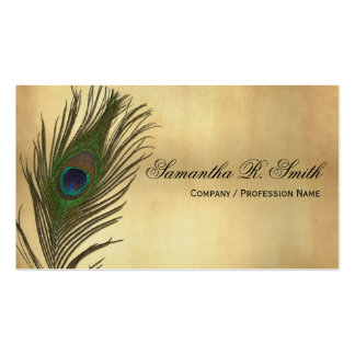 El pavo real de la apariencia vintage empluma eleg tarjetas de visita