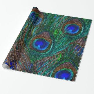 El pavo real de medianoche empluma estilo de la papel de regalo