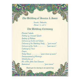 """El pavo real de Paisley colorea programa del boda Invitación 4.25"""" X 5.5"""""""