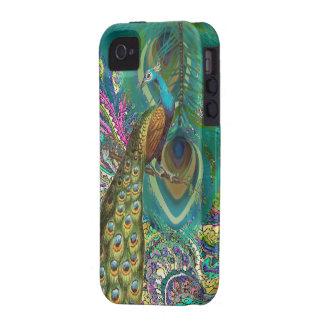 El pavo real de Paisley del oro y le empluma elige iPhone 4/4S Fundas