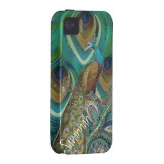El pavo real del damasco del vintage del ambiente Case-Mate iPhone 4 funda