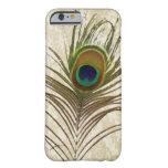 el pavo real del damasco del vintage empluma la funda de iPhone 6 barely there