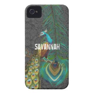 El pavo real del damasco y le empluma elige color iPhone 4 protector
