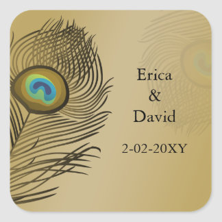 el pavo real del oro envuelve los sellos pegatina cuadrada
