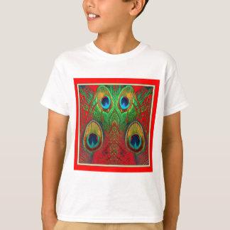 El pavo real del Rojo-Verde-Púrpura-Oro empluma Poleras