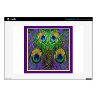 El pavo real del Verde-Púrpura-Oro empluma los Calcomanías Para Portátiles
