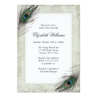 El pavo real del vintage empluma invitaciones invitación 12,7 x 17,8 cm