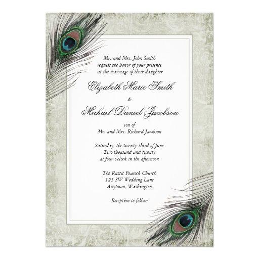 El pavo real del vintage empluma invitaciones del  comunicado personalizado
