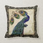 El pavo real del vintage empluma la decoración de  cojin