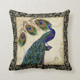 El pavo real del vintage empluma la decoración de cojín