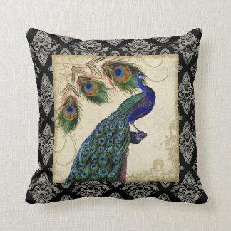 El pavo real del vintage empluma la decoración de cojín decorativo