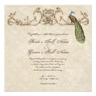 El pavo real del vintage y el boda hindú de las ag invitacion personalizada