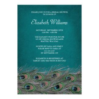 El pavo real elegante empluma la invitación nupcia