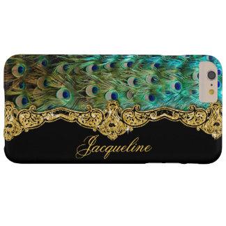 El pavo real elegante empluma rococó barroco del funda de iPhone 6 plus barely there