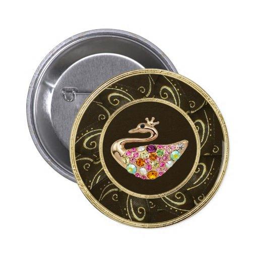 El pavo real elegante Jewels el botón de impresión Pin