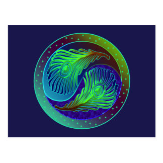 El pavo real empluma 1 Yin Yang Postal