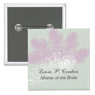 El pavo real empluma a la madre de la novia pin cuadrado