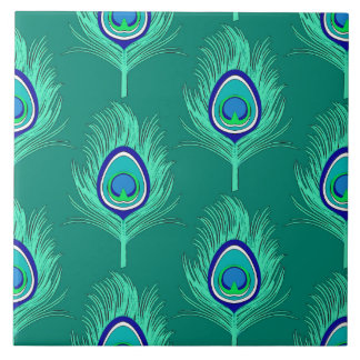 El pavo real empluma, aguamarina en la turquesa/el azulejo cuadrado grande