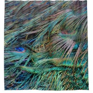 El pavo real empluma colores del arco iris cortina de baño