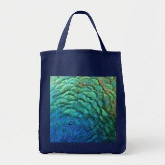 El pavo real empluma diseño abstracto colorido de bolsa tela para la compra