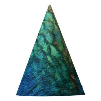 El pavo real empluma diseño abstracto colorido de gorro de fiesta