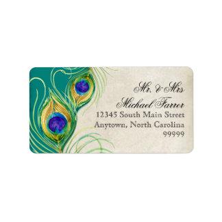 El pavo real empluma el boda moderno que hace jueg etiqueta de dirección