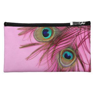 El pavo real empluma el bolso del cosmético de Bag