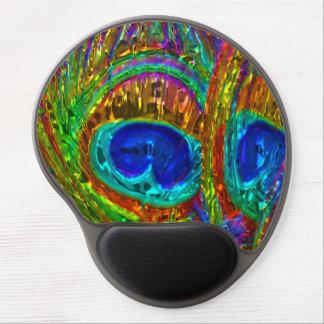 El pavo real empluma el gel de cristal Mousepad Alfombrilla Con Gel