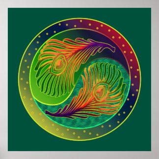 El pavo real empluma el poster de 3 Yin Yang