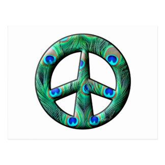 El pavo real empluma el signo de la paz postal