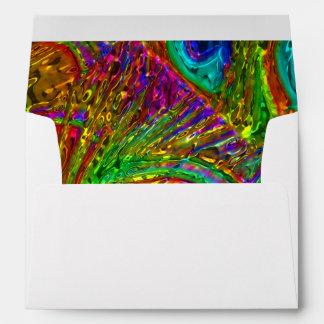 El pavo real empluma el sobre de cristal del arte