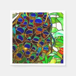 El pavo real empluma el vitral del mosaico servilleta de papel