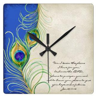 El pavo real empluma escritura real del cristiano  reloj cuadrado