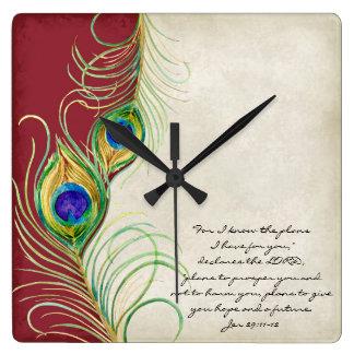 El pavo real empluma escritura roja del cristiano reloj cuadrado