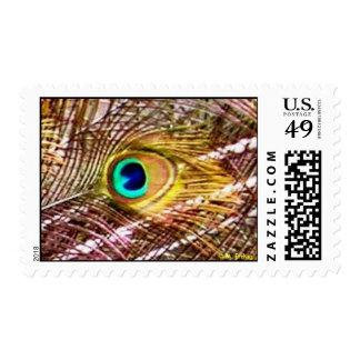 El pavo real empluma franqueo timbres postales