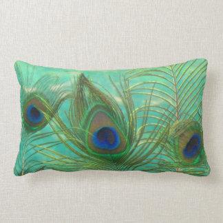 El pavo real empluma la almohada de tiro cojín lumbar