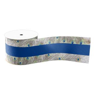 El pavo real empluma la cinta grosgrain azul lazo de tela gruesa