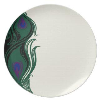 El pavo real empluma la frontera platos