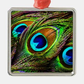 El pavo real empluma la invasión - adorno cuadrado plateado