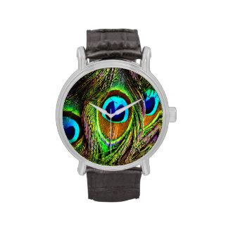 El pavo real empluma la invasión relojes de mano